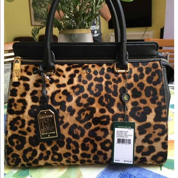 Ralph Lauren Leopard Cheetah Convertible Satchel 87adc4894f320